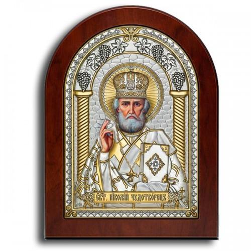 Святитель Николай Чудотворец. Икона в серебряном окладе