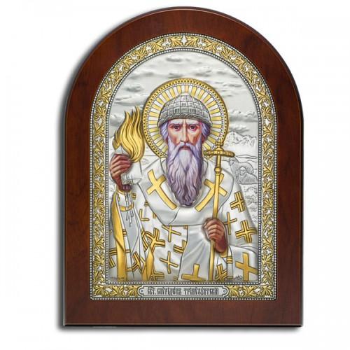 Святой Спиридон Тримифунтский. Православная икона в серебряном окладе (8 х 6,2 см)