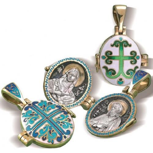 Икона Божией Матери Умиление. Преподобный Серафим Саровский. Нательный складень