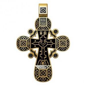 Православный крест с эмалью. Молитва «Спаси, Господи, люди твоя» 19.001-3