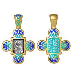 Нательный крестик с эмалью «Господь Вседержитель» 19.008