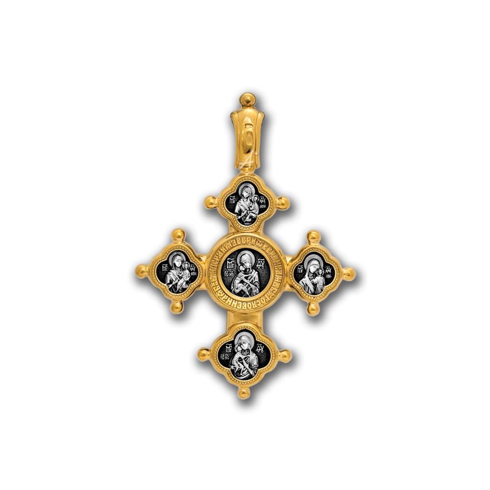 Нательный крест из серебра «Спаситель, Похвала Богородице» Мастерская «Акимов» 101.025