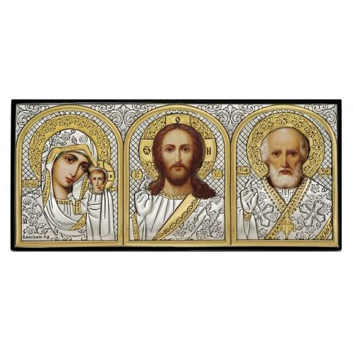 Казанская икона Божией Матери. Спаситель. Святитель Николай. Икона в автомобиль Арт. АИ-3