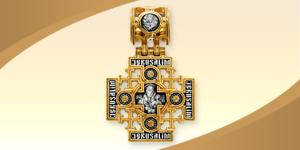 Серебряный нательный крест с образом Спасителя и Иерусалимской иконы Божьей Матери. Крест украшен позолотой и фрагментарным чернением.