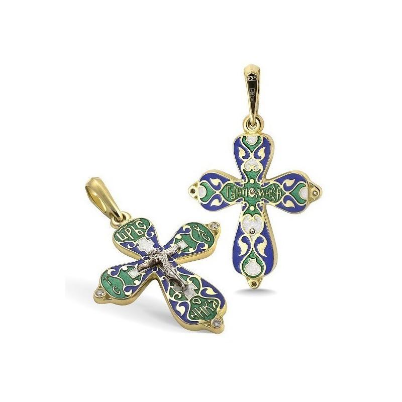 Православный крест с эмалью КЭ 04 (фианит)