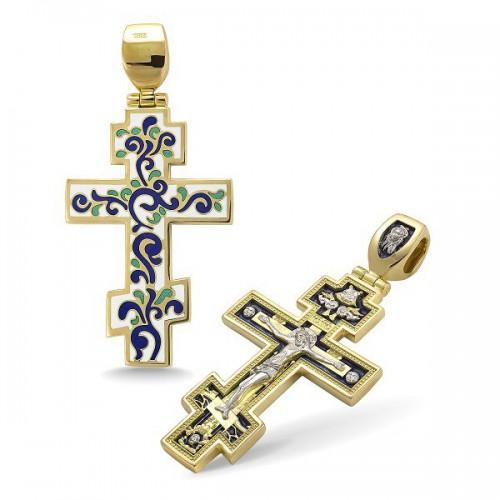 Православный крест с эмалью КЭ 05 (фианит)