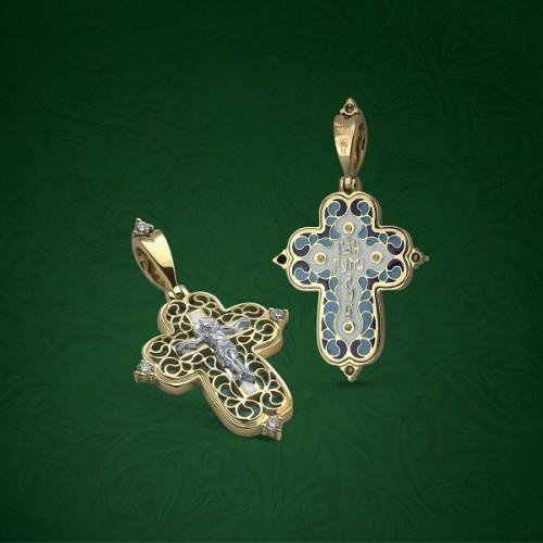 Православный крест с эмалью КЭ106 (фианит)