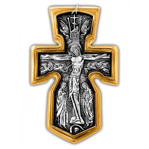 Крест с Архангелом Михаилом из серебра с позолотой (арт 101.281)