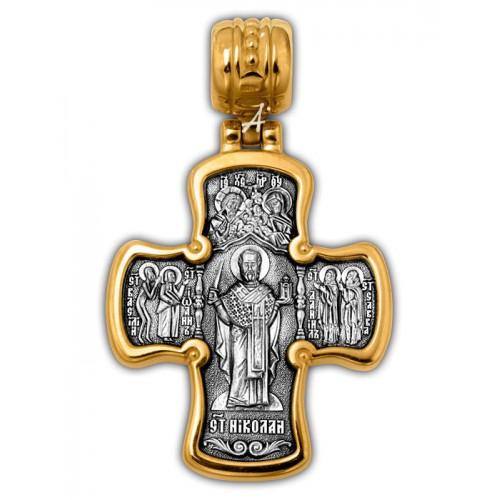 Позолоченный нательный крест «Николай Угодник» (арт 101.283)