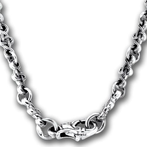 Серебряная цепь с орнаментом в православном стиле 105.021