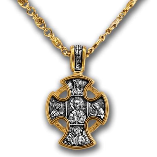 Позолоченная православная цепь «Рыбки с Крестом»
