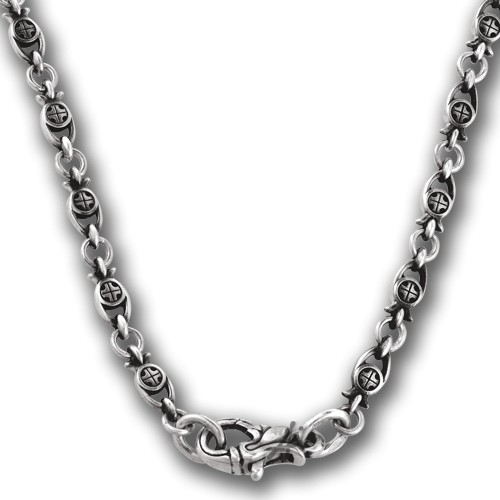 Серебряная православная цепь с чернением «Рыбки» 105.232