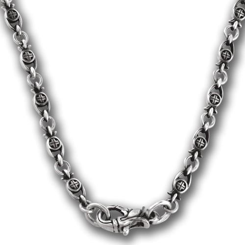 Серебряная православная цепь «Рыбки с Крестом»