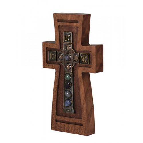 Деревянный настенный крестик с цветными камнями