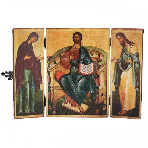 Икона складень «Спаситель, Богородица, Иоанн Креститель». Копия икон 3-й четверти XV в.