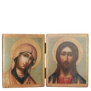 Икона. Складень двойной «Спаситель и Богородица». Копия икон начала XVIII века