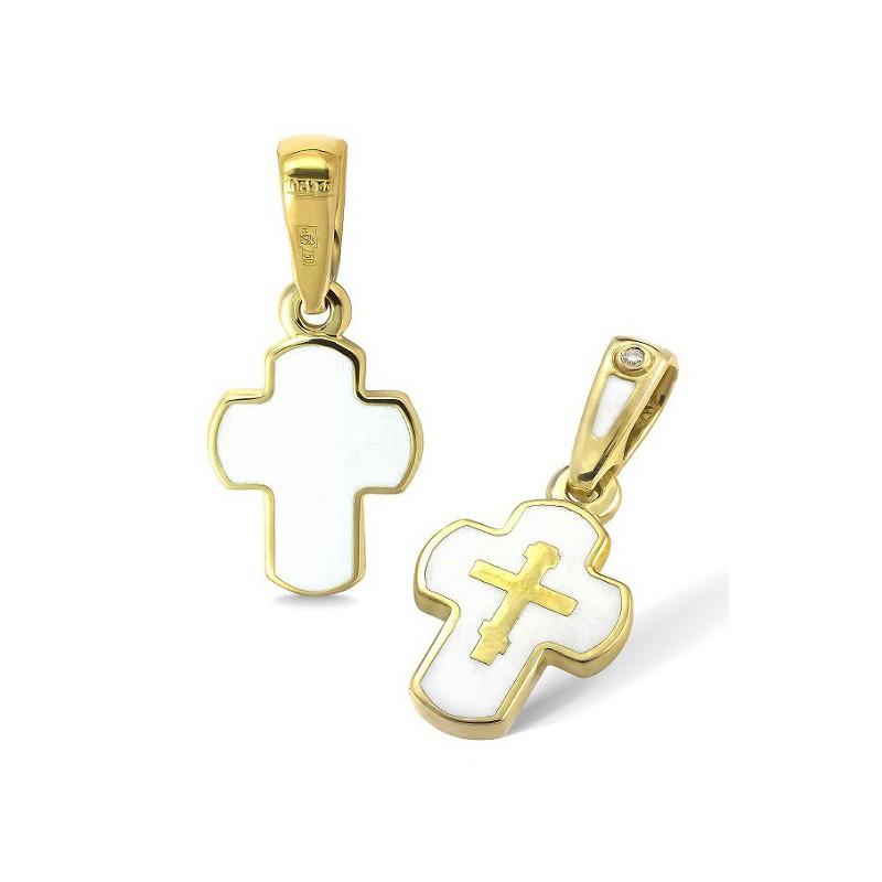 Золотой нательный крестик КРЗЭ 12 (вставка бриллиант)