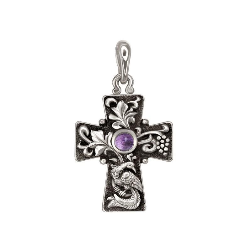 «Да воскреснет Бог». Нательный крест 837 (вставка аметист)