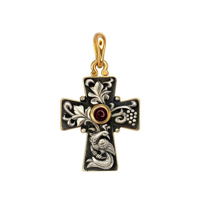 Женский крест с райской птицей (вставка гранат)