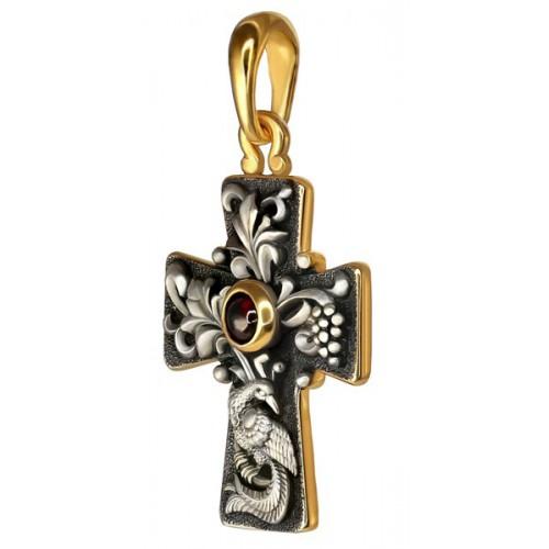 «Да воскреснет Бог». Нательный крест 837 (вставка гранат)