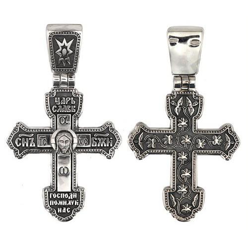 Нательный серебряный крест «Спас Нерукотворный» КР 008с