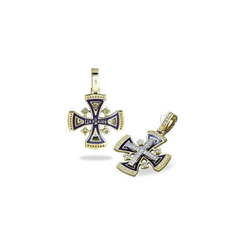 Православный крест КР СЭ 107 (вставка кристаллы Swarovski)