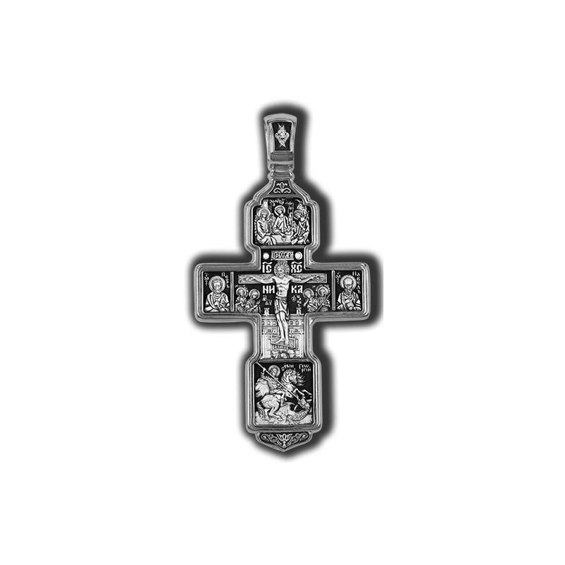 Распятие Христово с предстоящими. Святая Троица. Архангел Михаил. Святые Воины Тихвинская икона Божией Матери 08199