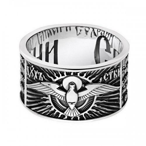 Церковное кольцо Спаси и Сохрани с молитвой Святому Духу