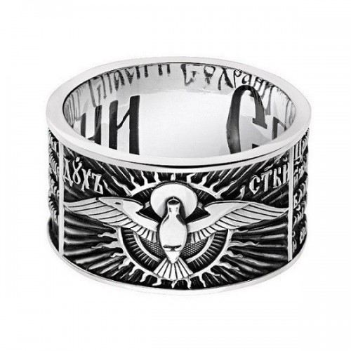 Серебряное кольцо молитва Святому Духу — код товара 603