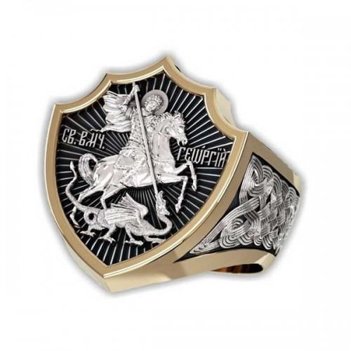 Мужской православный перстень Святой Георгий — код товара 651.п