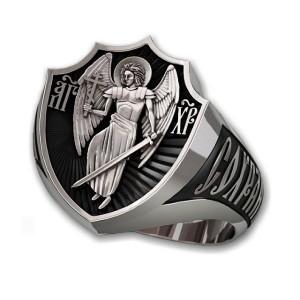 Мужской серебряный перстень Ангел Хранитель — код товара 650