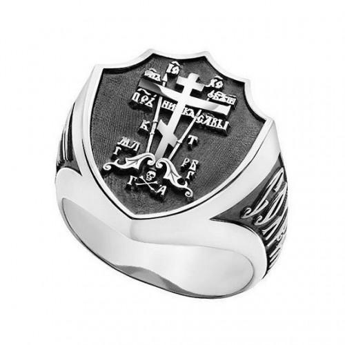Мужской перстень «Голгофский крест» с молитвой 652