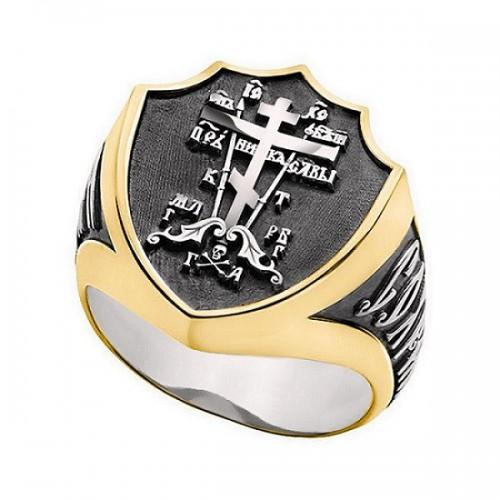 Мужской перстень «Голгофский крест» с молитвой 652з