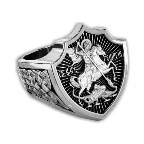 Мужской серебряный перстень «Святой Георгий»