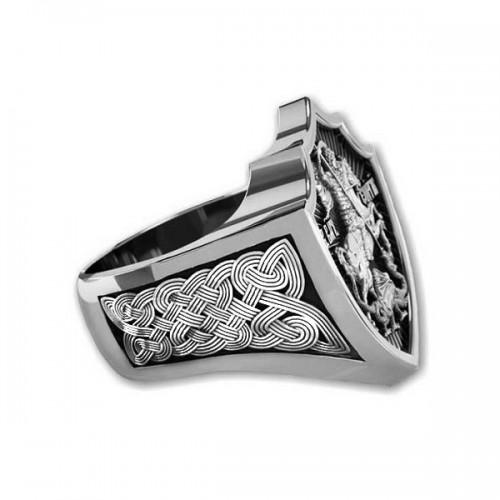 Мужской серебряный перстень Святой Георгий — код товара 651