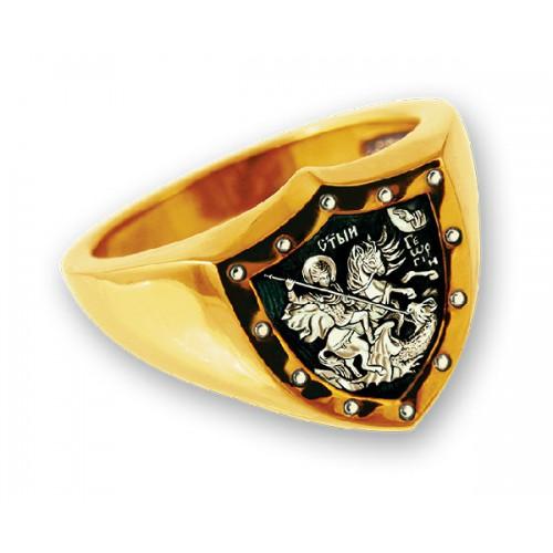 Перстень из серебра с позолотой «Георгий Победоносец»