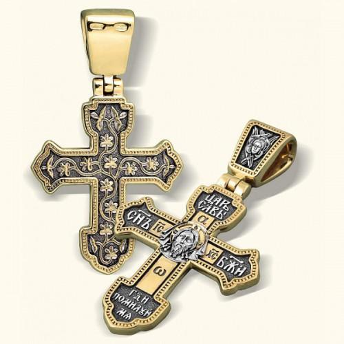 Крест «Спас Нерукотворный» из серебра с позолотой