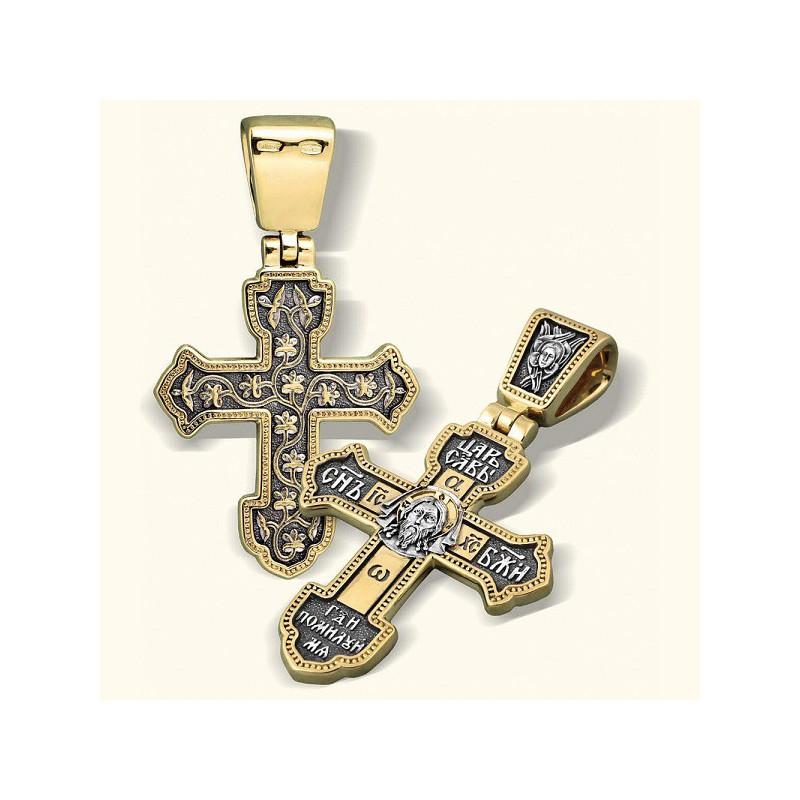 Нательный серебряный крест «Спас Нерукотворный» КР 008