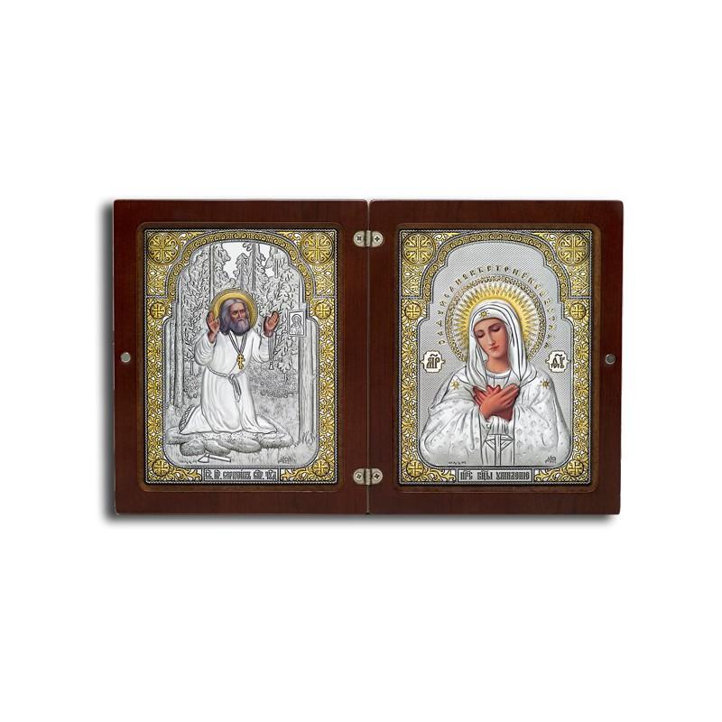 Богородица «Умиление». Серафим Саровский. Складень Арт. ФСП4-Д