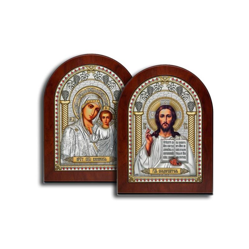 Венчальная пара икон в серебряном окладе