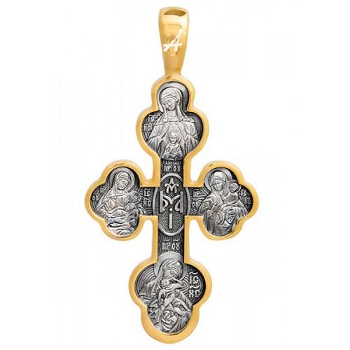 Крест нательный «Материнский» из серебра с позолотой