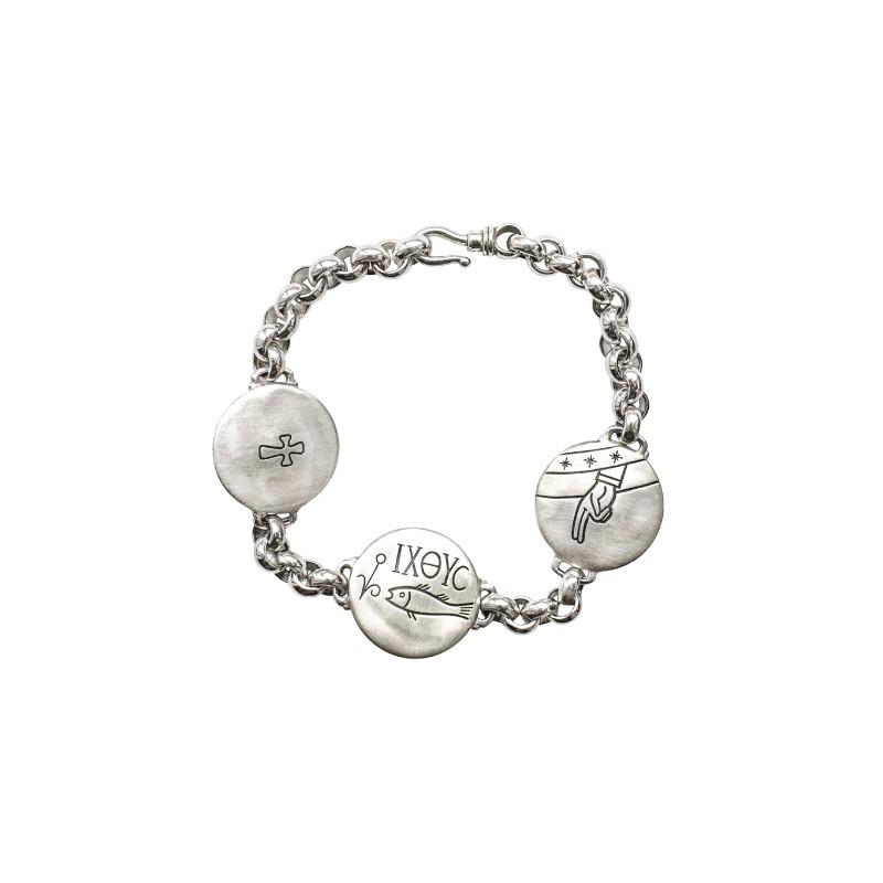 Православный браслет из серебра с христианскими символами