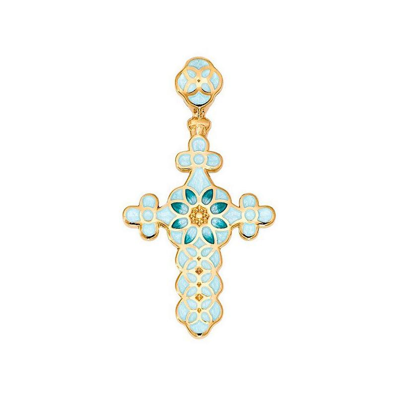 Нательный крестик с позолотой и эмалью голубых тонов 01.031