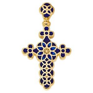 Нательный крестик с позолотой и эмалью синего цвета