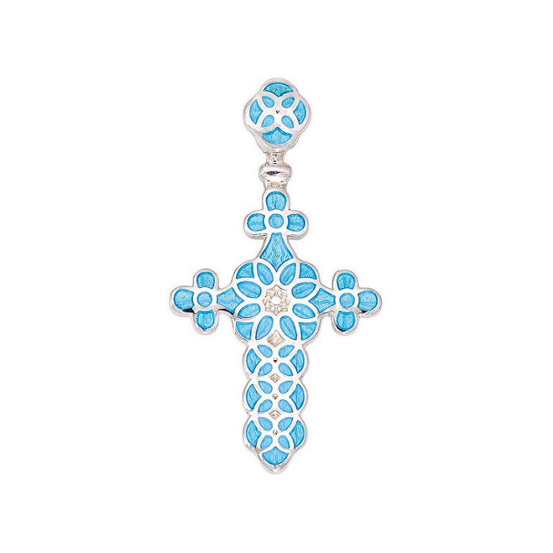 Серебряный нательный крестик с эмалью, голубой