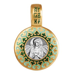 Ангел Хранитель. Нательный образок с эмалью в зеленых тонов