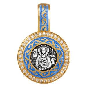 Образок «Пантелеймон целитель» с эмалью и фианитами 02.049