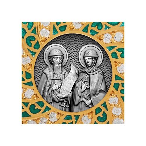Образок «Св. Петр и Феврония» с эмалью и фианитами 02.082