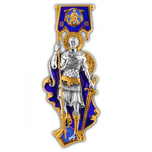 Святой князь Александр Невский. Нательный образок с эмалью