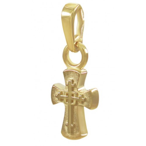 Маленький нательный крестик из желтого золота